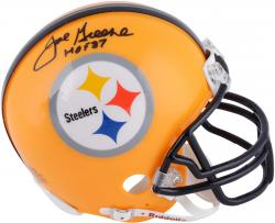 Joe Greene Pittsburgh Steelers Autographed Riddell Mini Helmet with HOF 87 Inscription - Mounted Memories