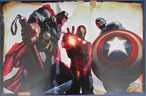 Greg Horn Signed MARVEL Thor Iron Man Captain America 11x17 Print 127122