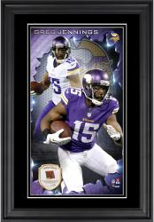 Greg Jennings Minnesota Vikings 10'' x 18'' Vertical Framed Photograph with Piece of Game-Used Football - Limited Edition of 250