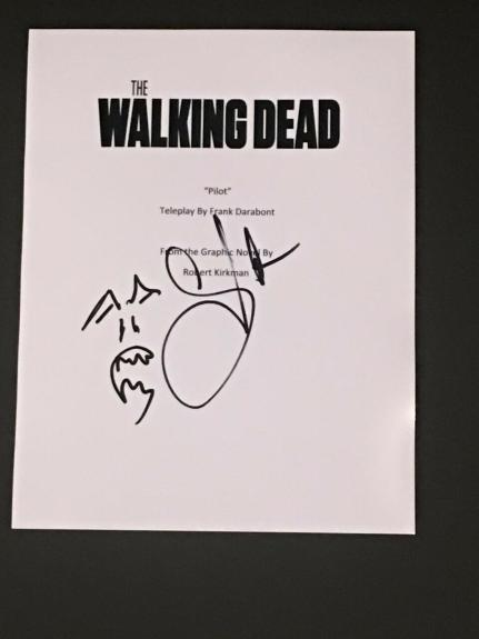 Greg Nicotero Signed The Walking Dead Pilot Script With Sketch Very Rare