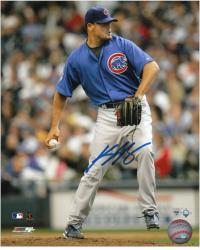 "Kevin Gregg Chicago Cubs Autographed 8"" x 10"" Blue Uniform Photograph"