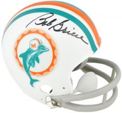 Bob Griese Autographed Mini Helmet - Throwback Riddell Mounted Memories