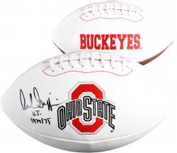 Archie Griffin Ohio State Buckeyes Autographed White Panel Football with HT 74-75 Inscription - Mounted Memories