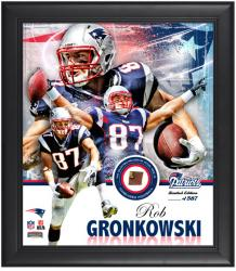 New England Patriots Rob Gronkowski Framed Collage with Football - Mounted Memories