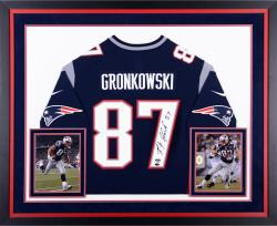 Rob Gronkowski New England Patriots Deluxe Framed Autographed Nike Replica Blue Jersey
