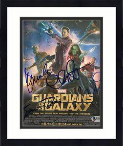 GUARDIANS OF GALAXY SIGNED AUTOGRAPH 8x10 PHOTO CHRIS PRATT & DIESEL BECKETT 4X