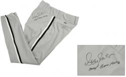 Ozzie Guillen Chicago White Sox Autographed 2004 Game Worn Gray Pants with ''2004 Game Worn'' Inscription - Mounted Memories
