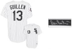 Ozzie Guillen Autographed Chicago White Sox White Replica Pinstripe Jersey with World Series Patch - Mounted Memories