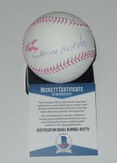 Guillermo Heredia Auto'd Signed Mlb Pink Baseball Bas Coa Seattle Mariners Cuba