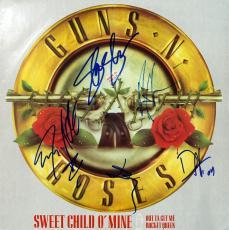 Guns N' Roses (5) Axl, Slash, +3 Signed Album Cover W/ Vinyl PSA/DNA #O01385
