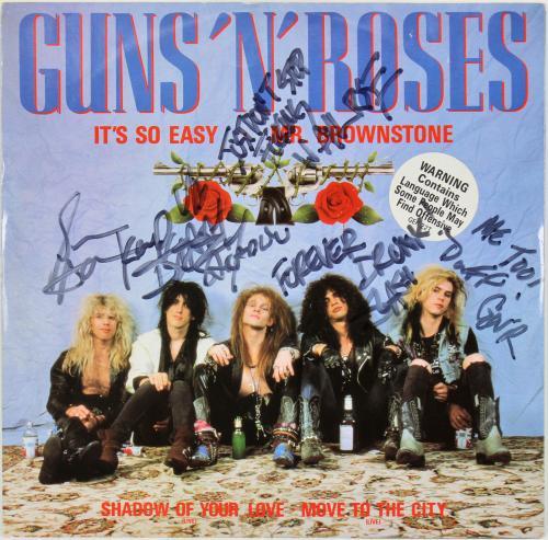 Guns N' Roses (5) Rose, Slash, Adler Signed 12 Inch EP Album Cover W/ Vinyl JSA