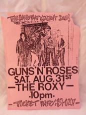 Guns & Roses ORIGINAL Aug 31st 1985 The Roxy Concert Flyer Poster Slash Signed