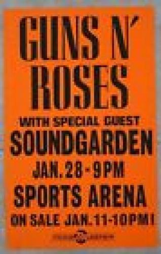 Guns & Roses Soundgarden Jan 28 1992 100% ORIGINAL 14x22 Concert Tour Poster