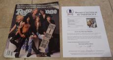 Guns Roses x3 Signed Rolling Stone Magazine Cover Photo BAS Certified Slash Duff