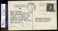 Gypsy Rose Lee Jsa Coa Hand Signed 1967 Postcard Authentic Autograph