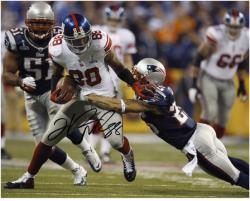 "Hakeem Nicks New York Giants Super Bowl XLVI Autographed 8"" x 10"" Horizontal Breaking Tackle Photograph"
