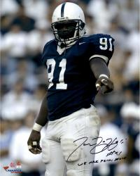 "Tamba Hali Penn State Nittany Lions Autographed 16"" x 20"" Vertical Blue Uniform Photograph with We Are Penn State Inscription"