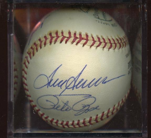 Mays - Seaver - Lasorda - Rose Vintage SIGNED ONL Feeney Baseball w/ hologram