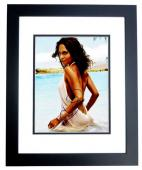 Halle Berry Signed - Autographed Sexy at the Beach 11x14 inch Photo BLACK CUSTOM FRAME - Guaranteed to pass PSA/DNA or JSA