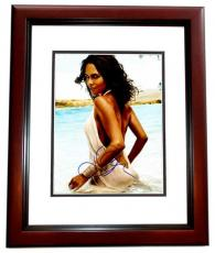 Halle Berry Signed - Autographed Sexy at the Beach 11x14 inch Photo MAHOGANY CUSTOM FRAME - Guaranteed to pass PSA or JSA