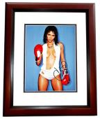 Halle Berry Signed - Autographed Sexy with Boxing Gloves 11x14 inch Photo MAHOGANY CUSTOM FRAME - Guaranteed to pass PSA/DNA or JSA
