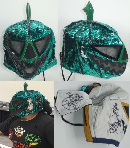 Halloween Signed Ring Worn Mask BAS Beckett COA CMLL AAA Lucha Libre Ciclope WCW