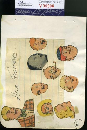 HAM FISHER D.55 JSA COA Hand Signed Vintage Album Page  Autograph Authenticated
