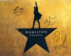 Hamilton autographed 8x10 photo (Broadway Play) signed by cast Lin Manuel Miranda Christopher Jackson Rory OMalley Renee Goldsberry