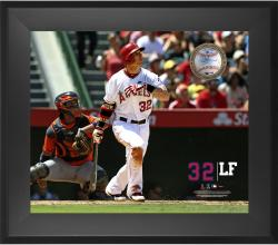 "Josh Hamilton Los Angeles Angels of Anaheim Framed 20"" x 24"" Gamebreaker Photograph with Game-Used Ball"