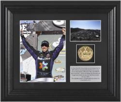 "Denny Hamlin Subway Fresh Fit 500 Race Winner Framed 6"" x 8"" Photo w/ Plate & Gold Coin - L.E. of 311 - Mounted Memories"
