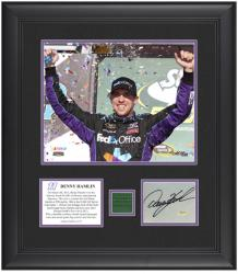 "Denny Hamlin 2012 Subway Fresh Fit 500 Winner 8"" x 10"" Photo with Autographed Card & Race-Used Flag - Limited Edition of 111 - Mounted Memories"