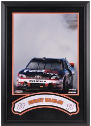 Denny Hamlin Framed Iconic 16'' x 20'' Photo with Banner - Mounted Memories