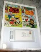 Hank Ketcham Signed 1990 First Day Cover PSA/DNA Dennis the Menace Sketch MARVEL