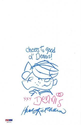 Hank Ketcham Signed Authentic Dennis The Menace Sketch PSA/DNA #U67276