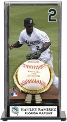 Hanley Ramirez Miami Marlins Baseball Display Case with Gold Glove Glove & Plate - Mounted Memories