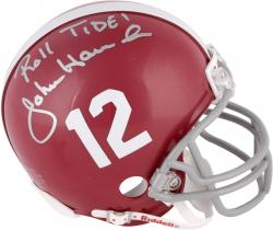 "John Hannah Autographed Alabama Mini Helmet with ""Roll Tide"" Inscription"