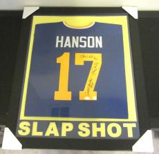 Hanson Brothers Authentic Autographed Framed And Matted Jersey