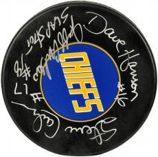 Jack Hanson, Steve Hanson, Jeff Hanson Autographed Slapshot Puck