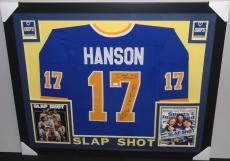Hanson Brothers Autographed Signed Framed Jersey w/JSA COA