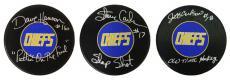 Hanson Brothers Individual Signed Charleston Chiefs Logo 'Slap Shot' Hockey Puck (3 Puck Set) w/Inscription