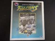 Hanson Brothers Multi-Signed Springfield Falcons Magazine Auto PSA/DNA AB03644