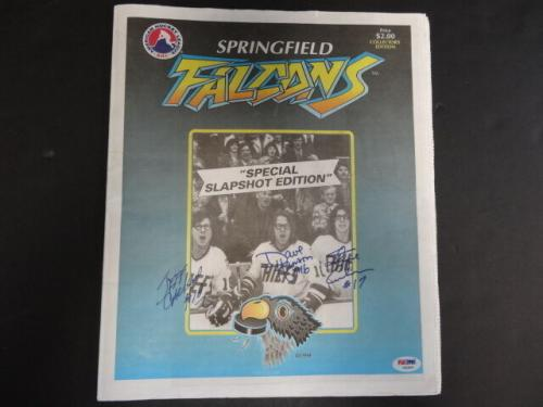 Hanson Brothers Multi-Signed Springfield Falcons Magazine Auto PSA/DNA AB03644
