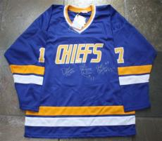 Hanson Brothers Signed Auto Charlestown Chiefs Jersey Psa Triple Autographed