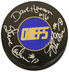 Hanson Brothers Signed Charleston Chiefs Logo 'Slap Shot' Hockey Puck