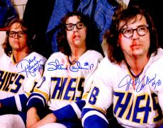 Hanson Brothers Signed Chiefs 'Slap Shot' Bloody Faces 11x14 Photo