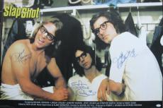 Hanson Brothers Signed Slap Shot Giant 24x36 Movie Poster Jsa Coa
