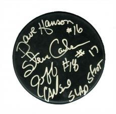 Hanson Brothers Slap Shot Autographed Signed Puck Authentic Beckett BAS COA