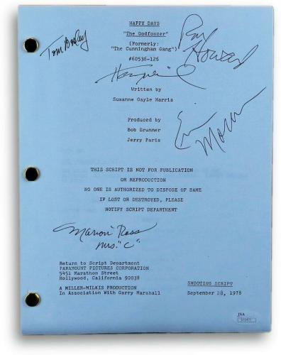 Happy Days Cast Signed Autographed TV Script Bosley Moran Winkler JSA S71477