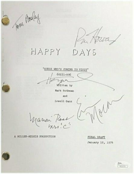 Happy Days Cast Signed Autographed TV Script Bosley Moran Winkler JSA V53775