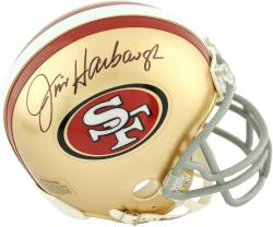 Jim Harbaugh San Francisco 49ers Autographed Riddell Mini Helmet - Mounted Memories